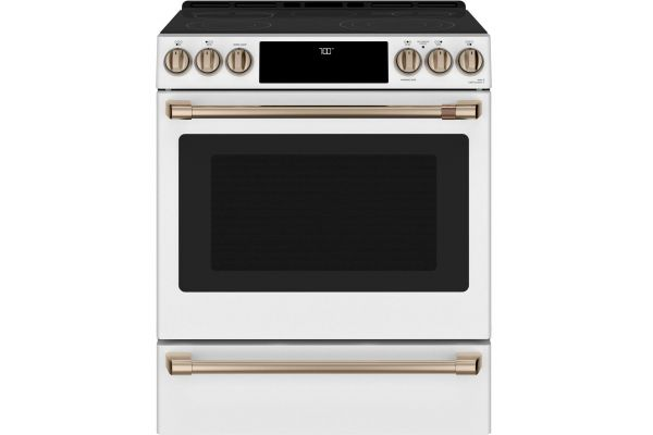 """Large image of Cafe 30"""" Matte White And Brushed Bronze Slide-In Electric Range - CES700P4MW2"""