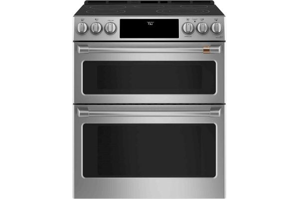 """Large image of Cafe 30"""" Stainless Steel Smart Front-Control Radiant And Convection Double-Oven Slide-In Electric Range - CES750P2MS1"""