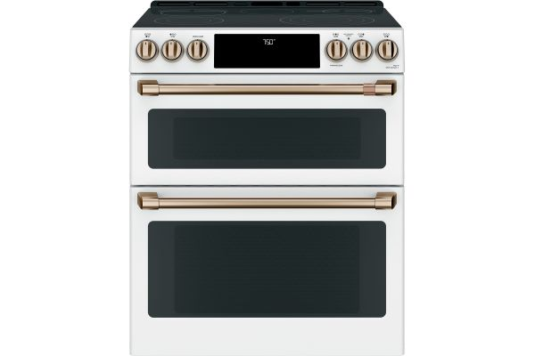 """Cafe 30"""" Matte White With Brushed Bronze Slide-In Double Oven Convection Range - CES750P4MW2"""