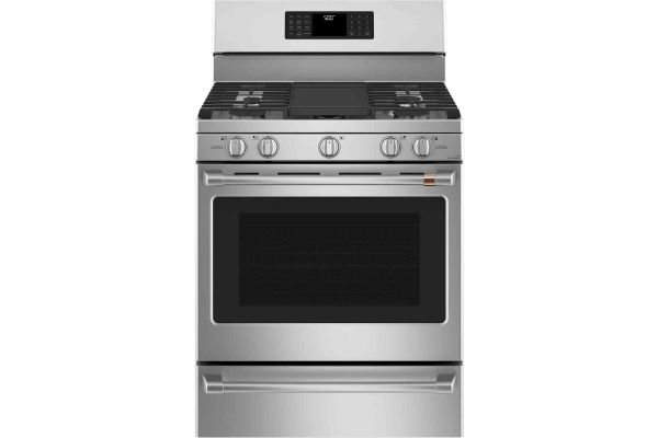 """Large image of Cafe 30"""" Stainless Steel Freestanding Gas Range - CGB500P2MS1"""