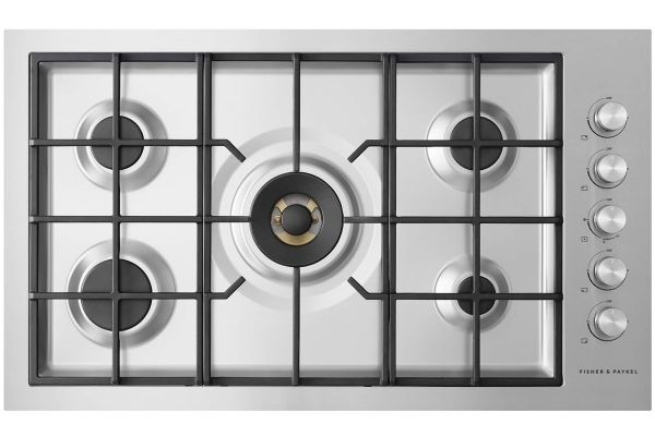 """Large image of Fisher & Paykel 36"""" Stainless Steel 5 Burner Liquid Propane Cooktop - CG365DLPRX2N"""