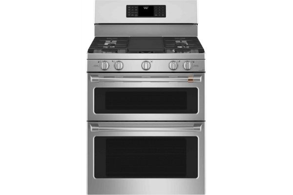 """Large image of Cafe 30"""" Stainless Steel Freestanding Double Gas Range - CGB550P2MS1"""