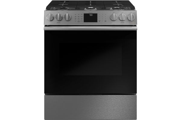 """Large image of Cafe 30"""" Platinum Slide-In Front Control Gas Oven With Convection Range - CGS700M2NS5"""