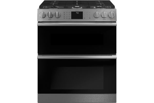 """Large image of Cafe 30"""" Platinum Slide-In Front Control Gas Double Oven With Convection Range - CGS750M2NS5"""