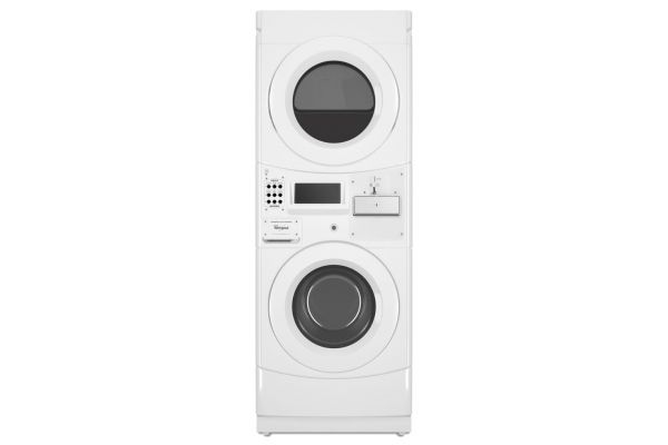 Large image of Whirlpool Commercial White  Stacked Gas Washer & Dryer Unit - CGT9000GQ