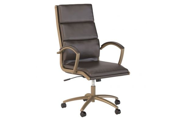 Bush Business Furniture Seating High Back Brown Leather Executive Office Chair - CH1701LBL-03