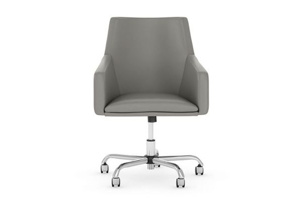 Bush Business Furniture Seating Mid Back Light Gray Leather Box Chair - CH2401LGL-03