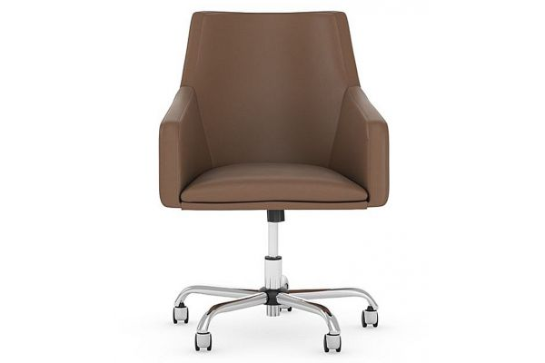 Bush Furniture Saddle Leather Back Leather Box Chair - CH2401SDL-03