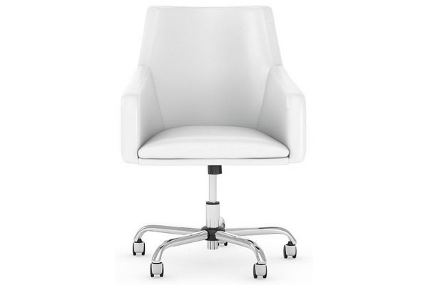 Large image of Bush Furniture White Mid Back Leather Box Chair - CH2401WHL-03