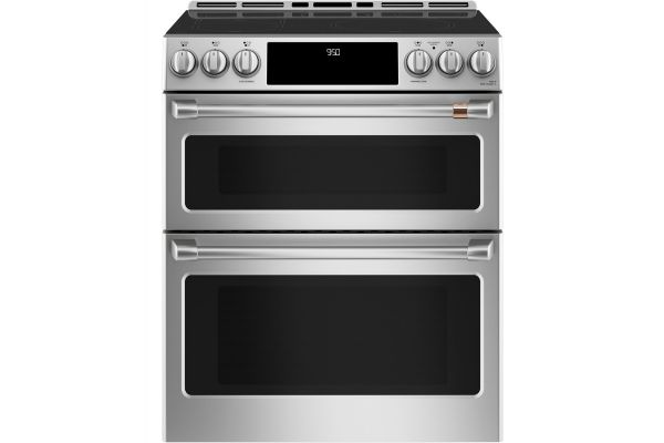 """Large image of Cafe 30"""" ADA Slide-In Front Control Induction And Convection Double Oven Range - CHS950P2MS1"""