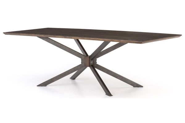 Large image of Four Hands Hughes Collection English Brown Oak Spider Dining Table - CIMP-105A