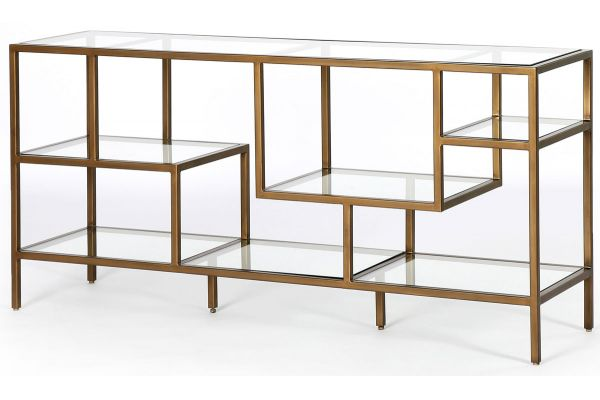 Large image of Four Hands Irondale Collection Helena Antique Brass Media Console - CIRD-5942