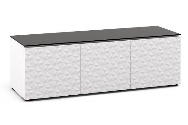 Large image of Salamander Designs Chameleon Collection Milan 237 White w/ Black Top AV Cabinet - CML237GWBK