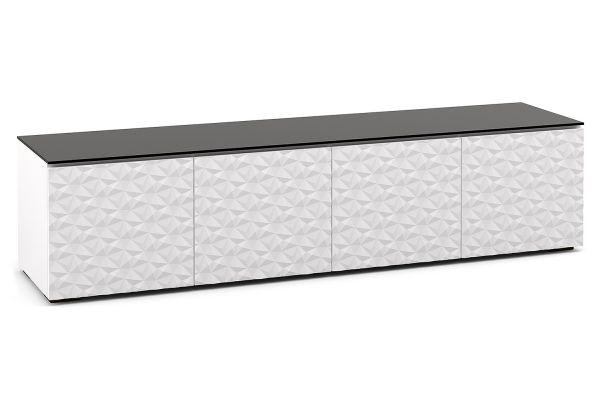 Large image of Salamander Designs Chameleon Milan 247 White with Black Top AV Cabinet - C/ML247/WH/BK