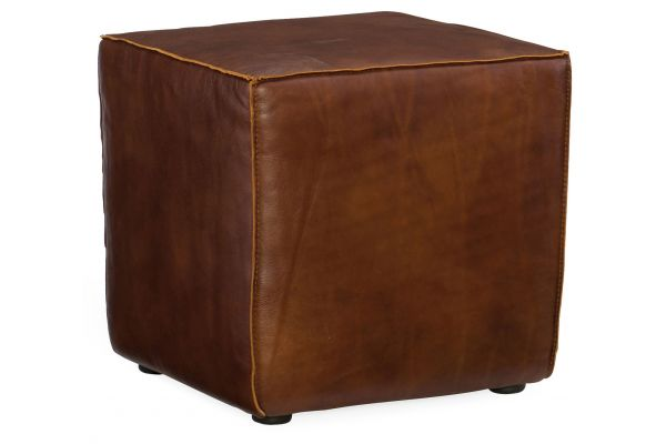 Large image of Hooker Furniture CO Collection Quebert Cube Brown Leather Ottoman - CO393-087