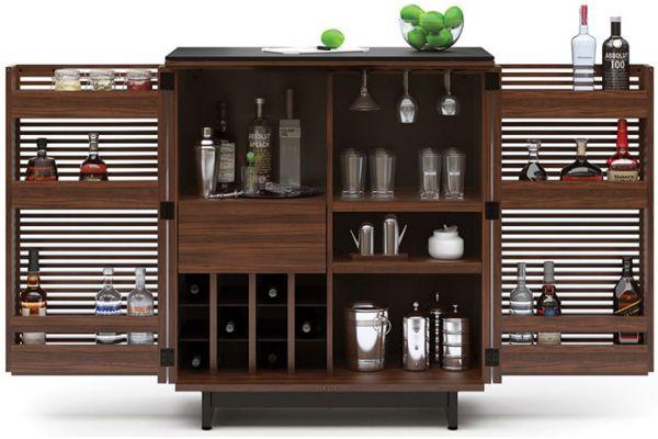 Large image of BDI Chocolate Walnut Corridor Bar Cabinet - CORRIDOR5620CWL