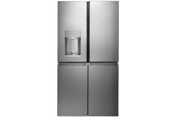 Large image of Cafe ENERGY STAR 27.4 Cu. Ft. Smart Quad-Door Refrigerator In Platinum Glass - CQE28DM5NS5