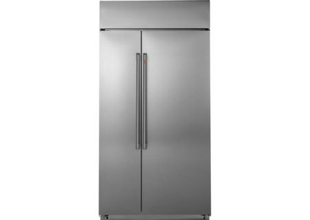 """Cafe 42"""" Built-In Stainless Steel Side-By-Side Refrigerator - CSB42WP2NS1"""