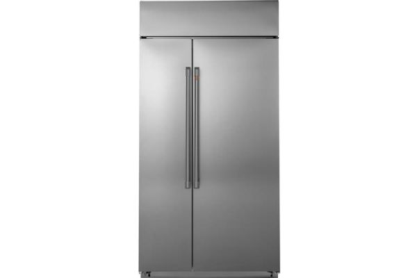 """Large image of Cafe 48"""" Built-In Stainless Steel Side-By-Side Refrigerator - CSB48WP2NS1"""