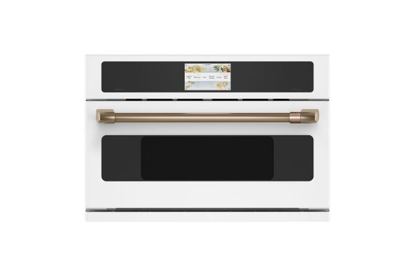 """Cafe 30"""" Matte White With Brushed Bronze Built-In Single Convection Wall Oven - CSB913P4NW2"""