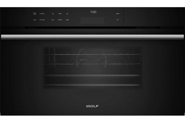 "Large image of Wolf 30"" M Series Black Contemporary Convection Steam Oven - CSO30CM/B/TH"