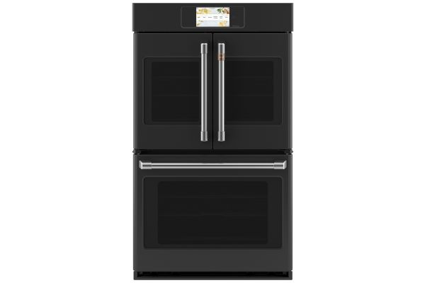 """Large image of Cafe Professional Series 30"""" Matte Black Smart Built-In Convection French-Door Double Wall Oven - CTD90FP3ND1"""