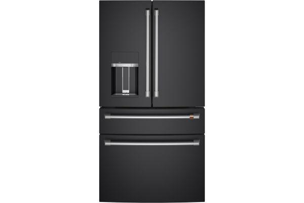Large image of Cafe ENERGY STAR 27.6 Cu. Ft. Matte Black With Brushed Stainless Smart 4-Door French-Door Refrigerator - CVE28DP3ND1