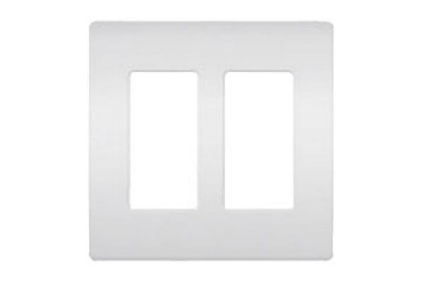 Large image of Lutron White 2 - Gang Claro & Satin Colors Wallplate - CW-2-WH