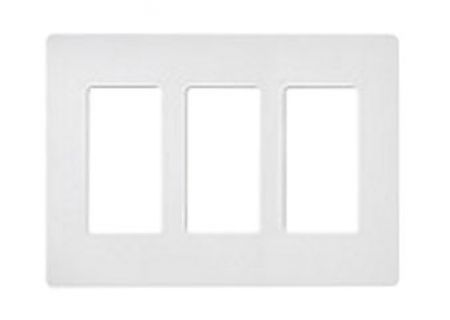 Lutron White 3 - Gang Claro & Satin Colors Wallplate  - CW3WH