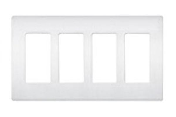 Large image of Lutron White 4 - Gang Claro & Satin Colors Wallplate - CW-4-WH