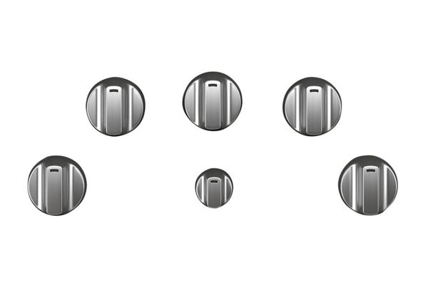 Large image of Cafe 5 Stainless Steel Electric Cooktop Knobs - CXCE1HKPMSS