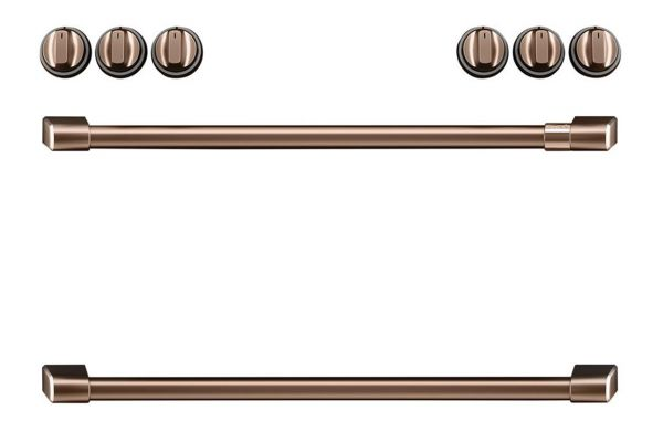Large image of Cafe Brushed Copper Front Control Induction Knobs and Handles - CXFCHHKPMCU