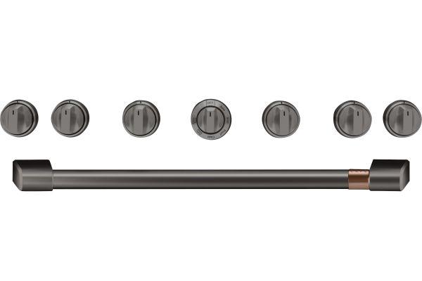 """Large image of Cafe 36"""" Brushed Black Handle & Knob Set For Pro Range - CXPR6HKPMBT"""