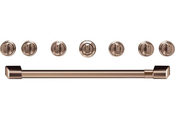 """Large image of Cafe 36"""" Brushed Copper Handle & Knob Set For Pro Range - CXPR6HKPMCU"""