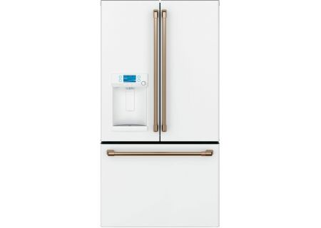 Cafe 22.2 Cu. Ft. Matte White And Brushed Bronze Counter-Depth French Door Refrigerator - CYE22TP4MW2