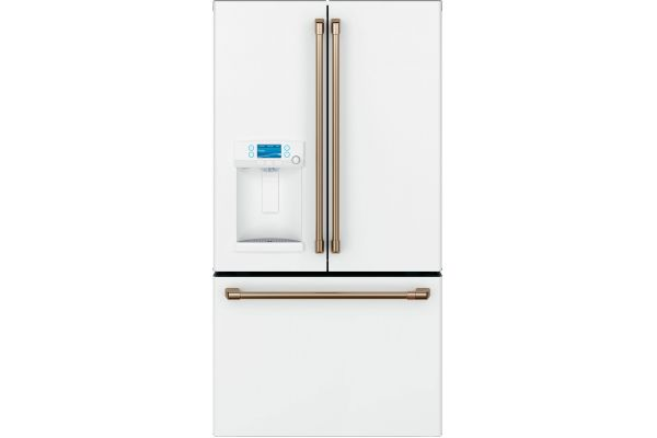 Large image of Cafe 22.2 Cu. Ft. Matte White Smart Counter-Depth French Door Refrigerator With Hot Water Dispenser - CYE22TP4MW2