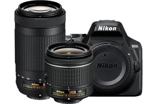 Large image of Nikon D3500 Black Digital SLR Camera With Two Lens Kit - 1588-N