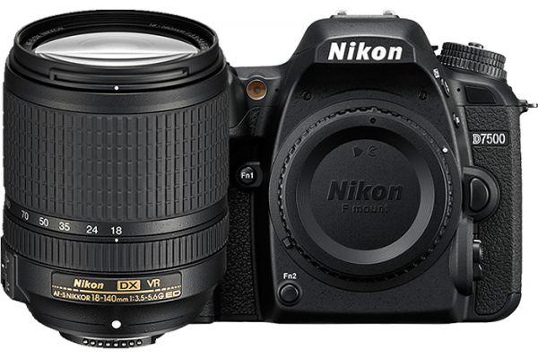 Large image of Nikon D7500 Black Digital SLR Camera 18-140mm VR Lens Kit - 1582