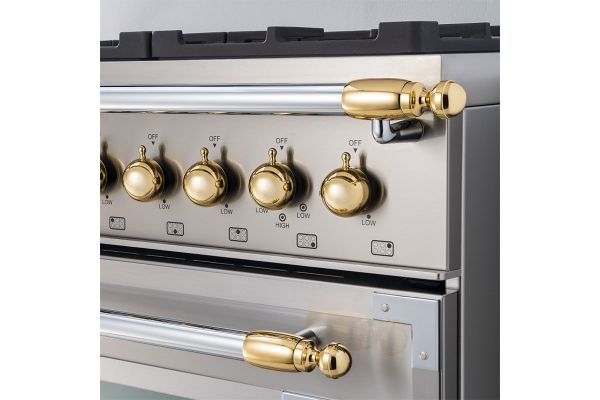 Large image of Bertazzoni Collezione Metalli Gold Decor Set For Range And Hood - DS1HERTGO