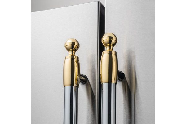 Large image of Bertazzoni Collezione Metalli Gold Decor Set For Refrigerator And Dishwasher - DS2HERTGO