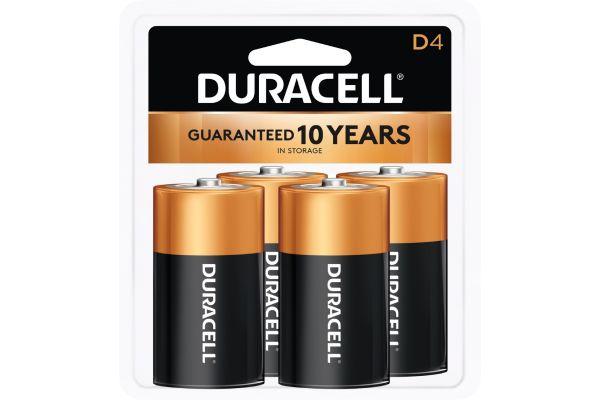 Large image of Duracell Coppertop D Alkaline Battery 4 Pack - DURMN1300R4Z17
