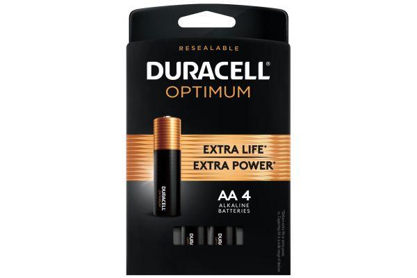 Duracell Optimum 1.5V AA Alkaline Battery 4 Pack - DUROPT1500B4