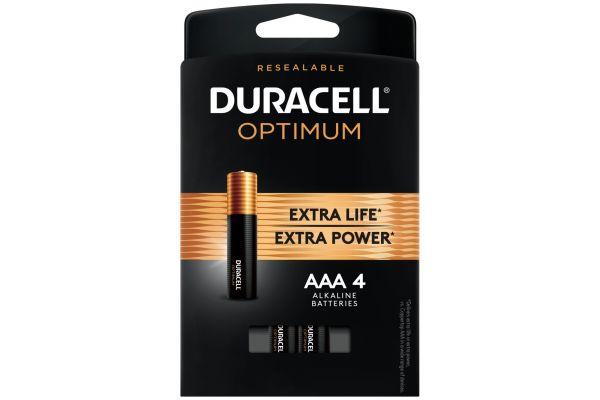 Large image of Duracell Optimum 1.5V AAA Alkaline Battery 4 Pack - DUROPT2400B4