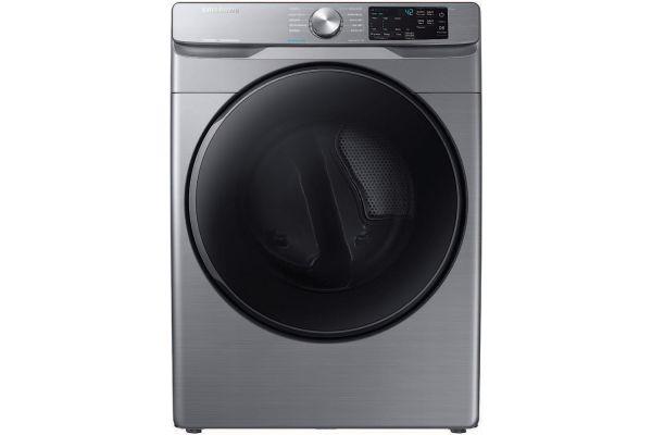 Large image of Samsung 7.5 Cu. Ft. Platinum Front Load Electric Dryer With Steam Sanitize+ - DVE45R6100P/A3