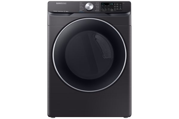 Samsung Fingerprint Resistant Black Stainless Steel Electric Steam Dryer - DVE45R6300V