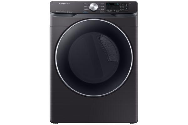 Large image of Samsung Fingerprint Resistant Black Stainless Steel Electric Steam Dryer - DVE45R6300V/A3