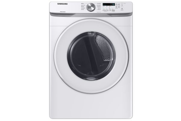 Large image of Samsung 7.5 Cu. Ft. White Front Load Electric Long Vent Dryer With Sensor Dry - DVE45T6020W/A3