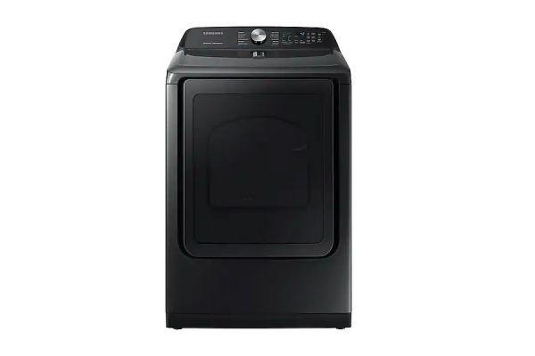Large image of Samsung Fingerprint Resistant Black Stainless Steel Electric Steam Dryer - DVE50R5400V/A3
