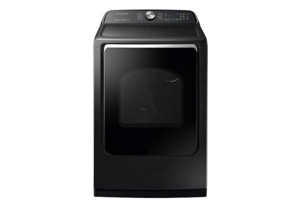 Large image of Samsung 7.4 Cu. Ft. Fingerprint Resistant Black Stainless Steel Electric Dryer - DVE54R7200V/A3
