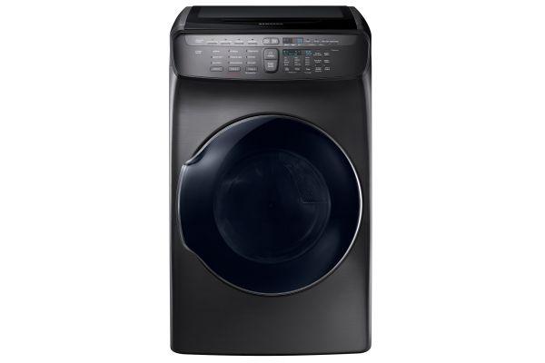 Large image of Samsung Fingerprint Resistant Black Stainless Steel FlexDry Electric Dryer - DVE55M9600V/A3
